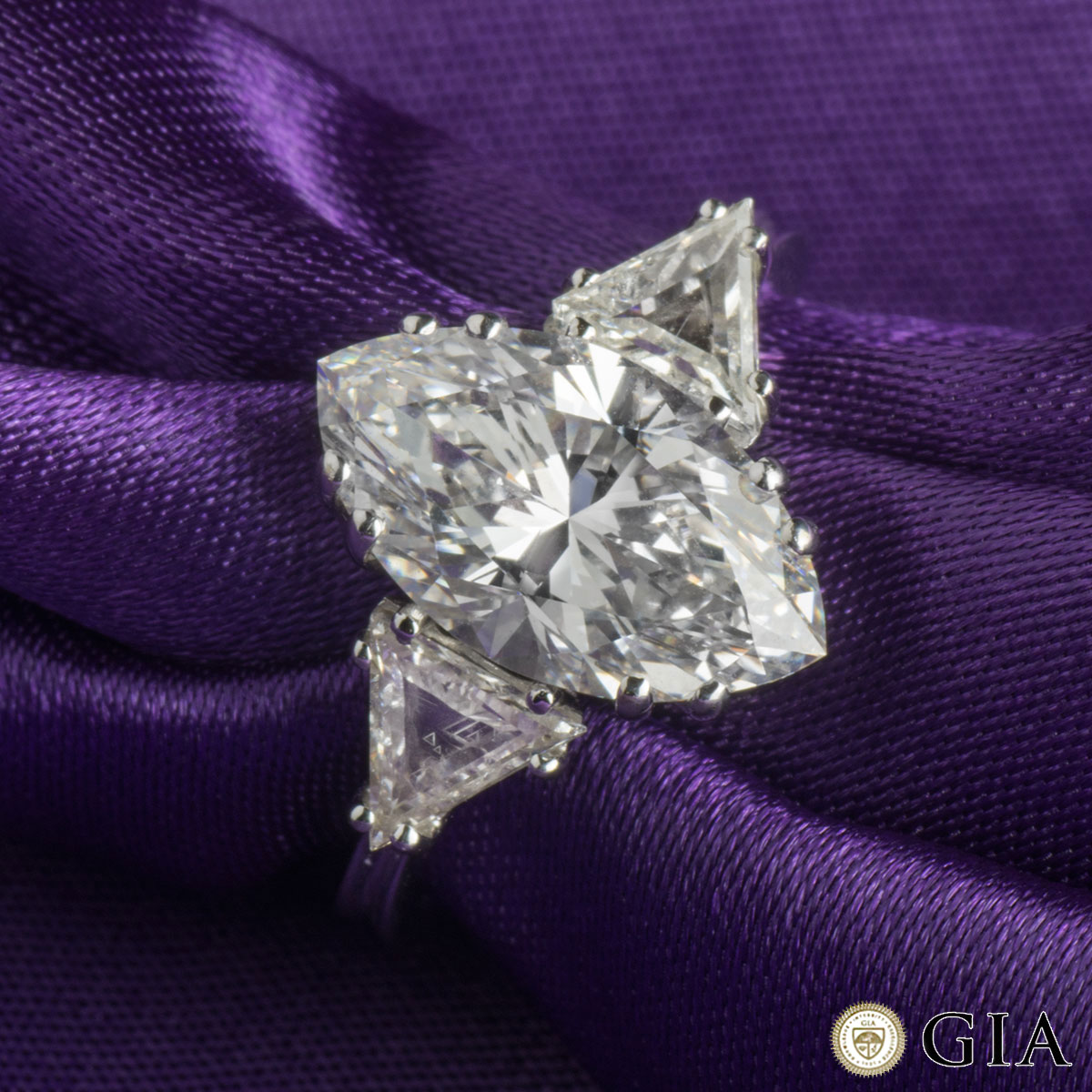 White Gold Marquise Diamond Ring 3.42ct D/VVS2